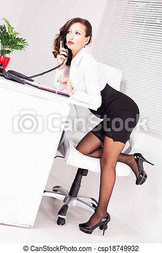 Photos de stock de sexy secrtaire debout femme bureau