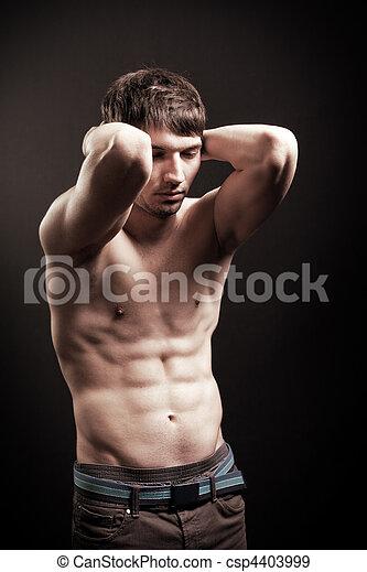 sexy, shirtless, addome, muscolare, uomo - csp4403999
