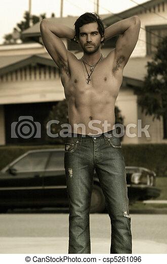 sexy, shirtless, tipo - csp5261096