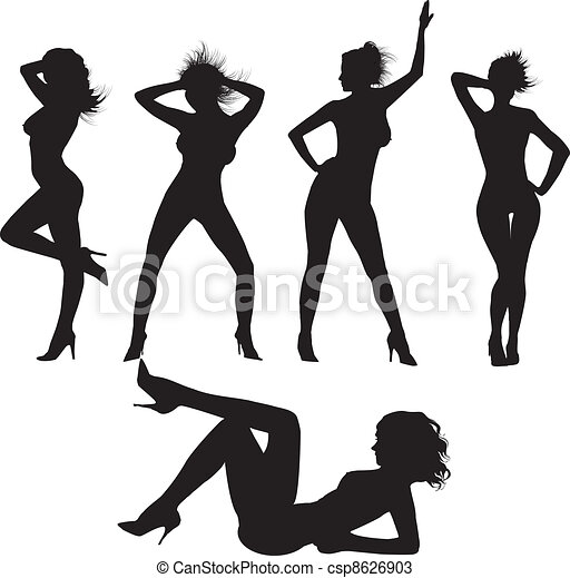 sexy silhouettes vector sexy silhouettes illustration rh canstockphoto com sexy victoria secret dress-up games