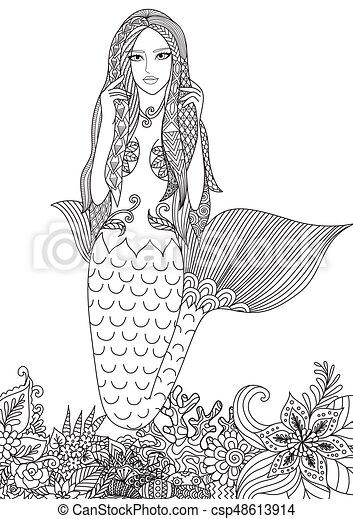 Sexy, sirena. Hermoso, page., colorido, ilustración, asombroso ...