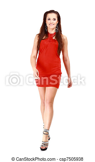 Sexy slim woman in red dress - csp7505938