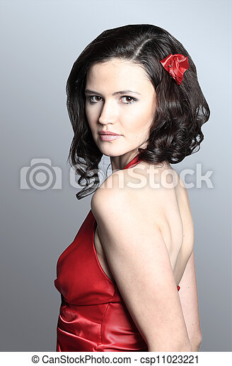 Sexy slim woman in red dress - csp11023221