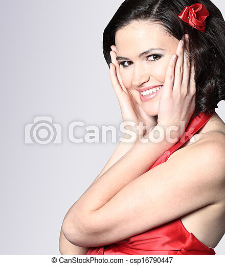 Sexy slim woman in red dress - csp16790447