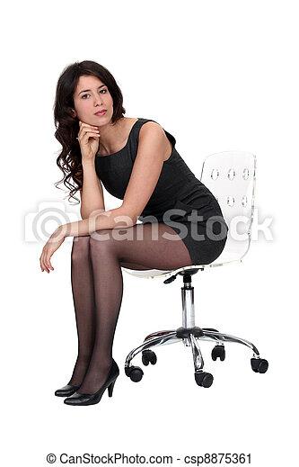 sexy stuhl frau sitzen. Black Bedroom Furniture Sets. Home Design Ideas