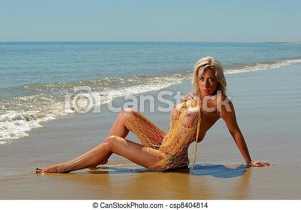 Sexy topless beach girl  - csp8404814