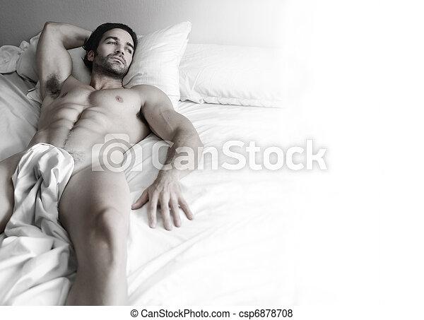 sexy, trozo, cama - csp6878708