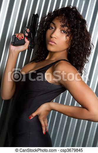 sexy, vrouw, geweer - csp3679845