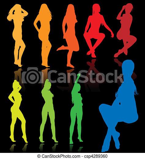 sexy, wektor, samice, barwny - csp4289360