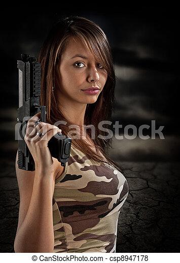 Japanese girls with airsoft guns shooting congratulate