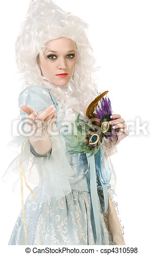 Sexy woman in Maria Antoinette costume and wig - csp4310598