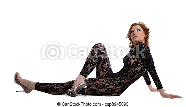 sexy woman look naked dress in lace body shirt - csp8945093