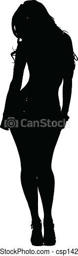 Sexy Woman Posing Silhouette Vector - csp14222413