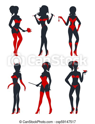 Sexy Woman Silhouettes Set Set Of Beautiful Sexy Devil Women In