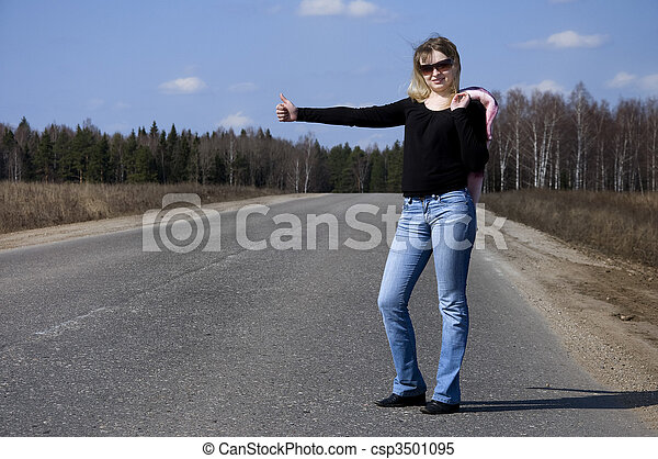 sexy woman stopping car - csp3501095