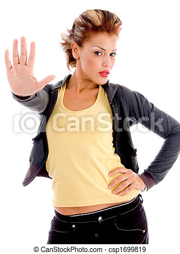 sexy woman stopping hand gesture - csp1699819