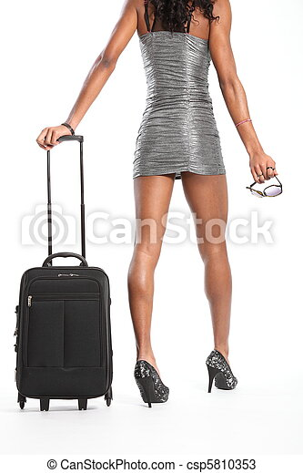 Sexy Woman Walking With Suitcase Csp5810353