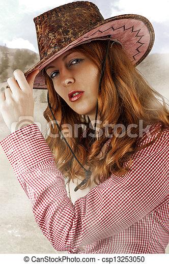 sexy Woman wearing cowboy hat - csp13253050 63bf6f99dd76