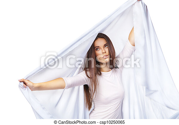 Sexy woman wearing white dress isolated - csp10250065