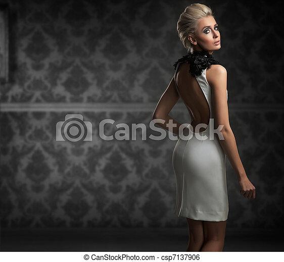 Sexy woman wearing white dress - csp7137906