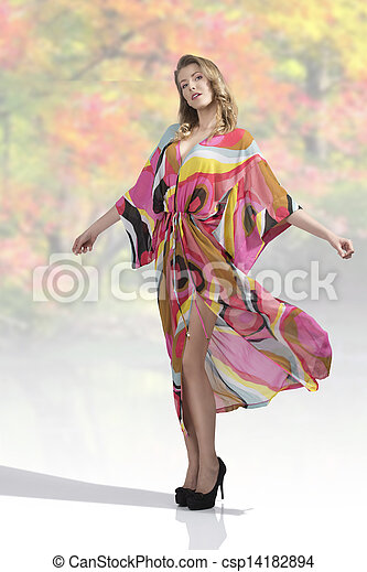 sexy woman with colorful dress - csp14182894