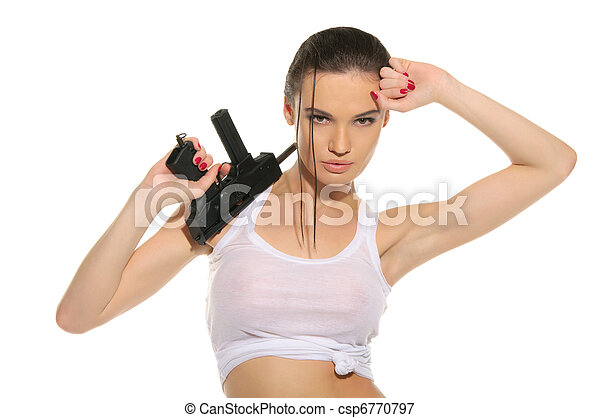 Sexy woman with gun - csp6770797