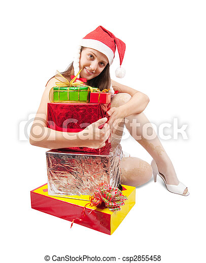 Sexy woman with present box - csp2855458