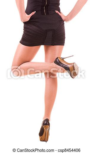 Sexy womanish leg in black shoe - csp8454406