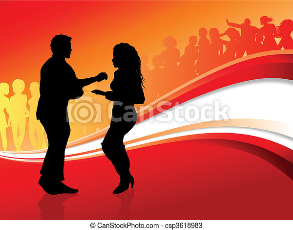 Sexy young couple dancing on summer party background - csp3618983
