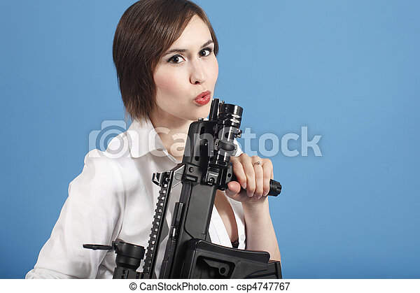 Sexy young woman with gun - csp4747767
