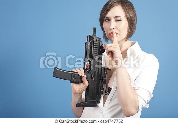 Sexy young woman with gun - csp4747752