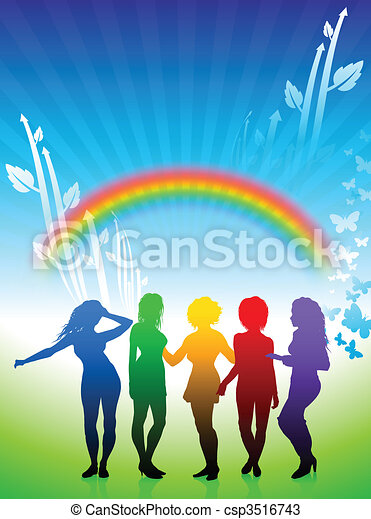 Sexy young women dancing on rainbow nature background - csp3516743