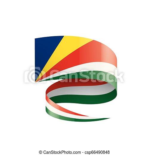 Seychelles flag, vector illustration on a white background - csp66490848