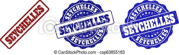 SEYCHELLES Scratched Stamp Seals - csp63855183