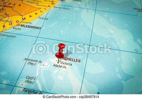 Una Chincheta Roja En Un Mapa Una Aguja Apuntando A