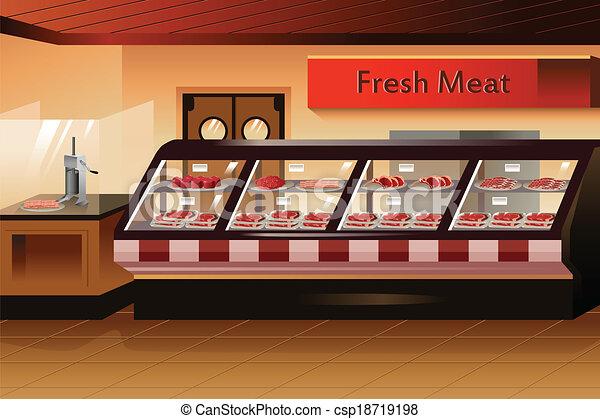 sezione, carne, drogheria, store: - csp18719198