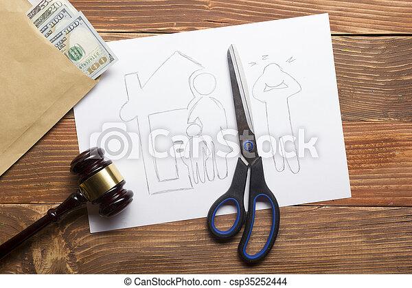 sezione, legge, taglio, carta, divorzio, means., proprietà, concept., legale, forbici, famiglia - csp35252444