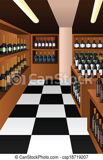 sezione, negozio, vino - csp18719207