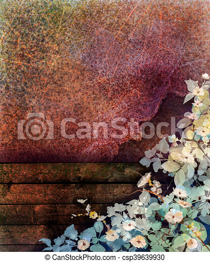 sezonowy, płot, ściana, wiosna, abstrakcyjny, żółty, bluszcz, kwiat, liść, struktura, tło., drewno, czerwony grunge, natura, barwiony, ręka, akwarela, tło, biały, kwiaty, painting. - csp39639930