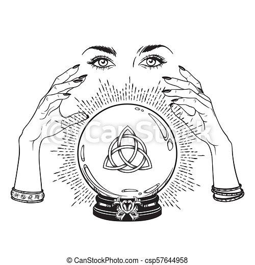 sfera cristallo, cassiere fortuna, mani - csp57644958