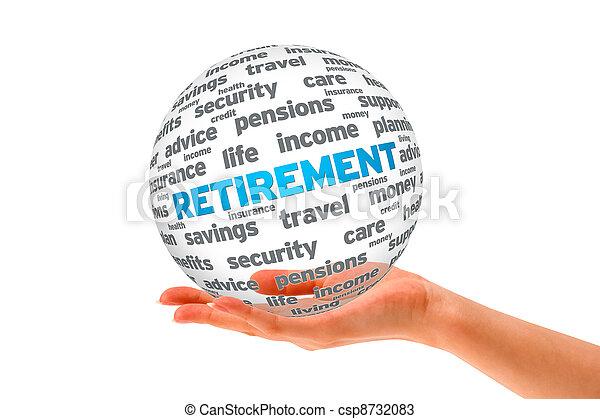 sfera, pensionamento, 3d, tenendo mano - csp8732083