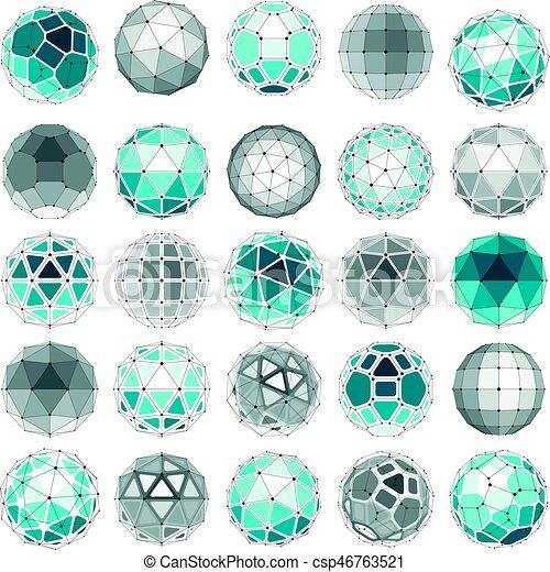 sferico, set, punti, oggetti, creato, pentagons., globi, wireframe, linee, 3d, poly, sfaccettatura, triangoli, collegato, prospettiva, shapes., geometrico, squadre, vettore, trigonometria, basso - csp46763521