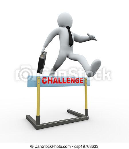 sfida, -, salto, ostacolo, uomo affari, 3d - csp19763633