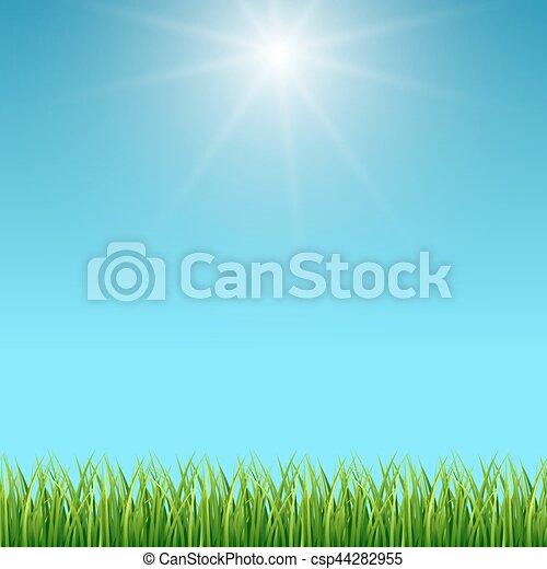 Sfondo Blu Cielo Vettore Verde Pulito Erba Blu Primavera