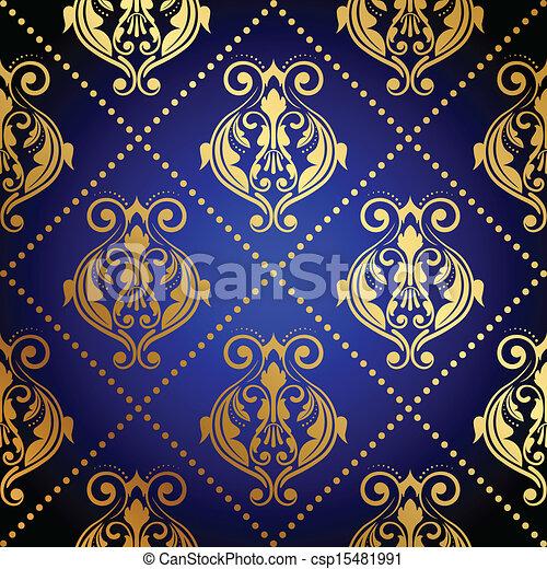 Sfondo Blu Lusso Oro O Blu Oro Ornamento Vettore Lusso Fondo