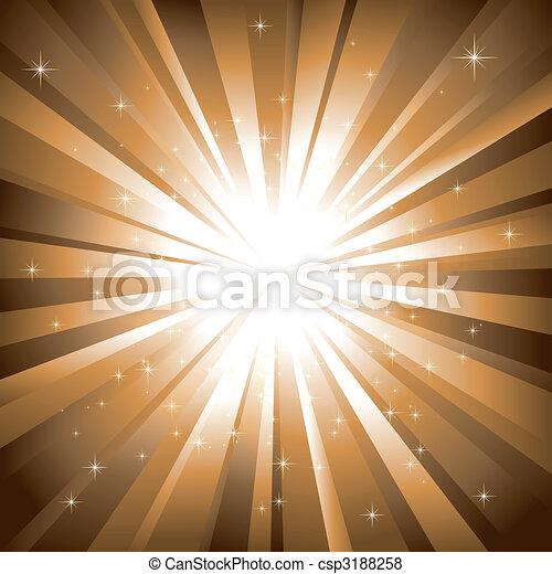 sfondo dorato, scoppio, astratto, sfavillante, stelle - csp3188258
