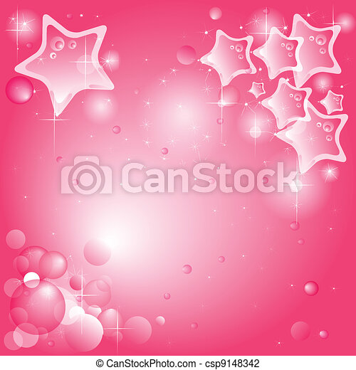 sfondo rosa, vector), stelle, bolle, (available - csp9148342