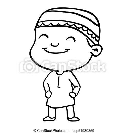 sg171005-Cartoon Smiley Muslim Boy-Vector Sketch - csp51930359