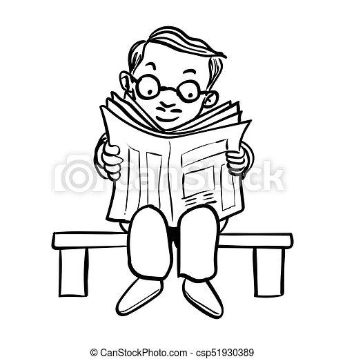 Sg171006 Cartoon Man Read Newspaper Vector Drawn Hand Drawing Of