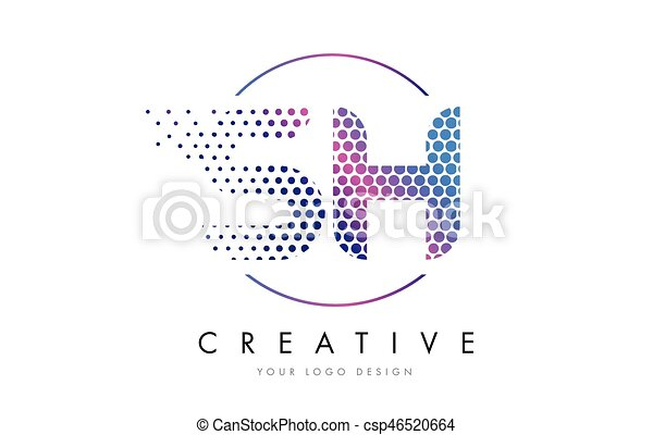 sh s h pink magenta dotted bubble letter logo design vector
